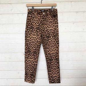 Zara High Waisted Leopard Print Jeans